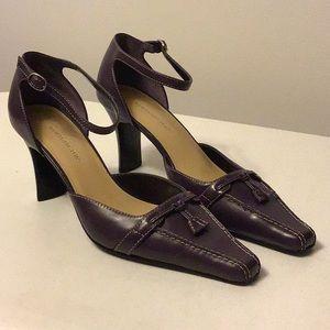 Purple leather heels